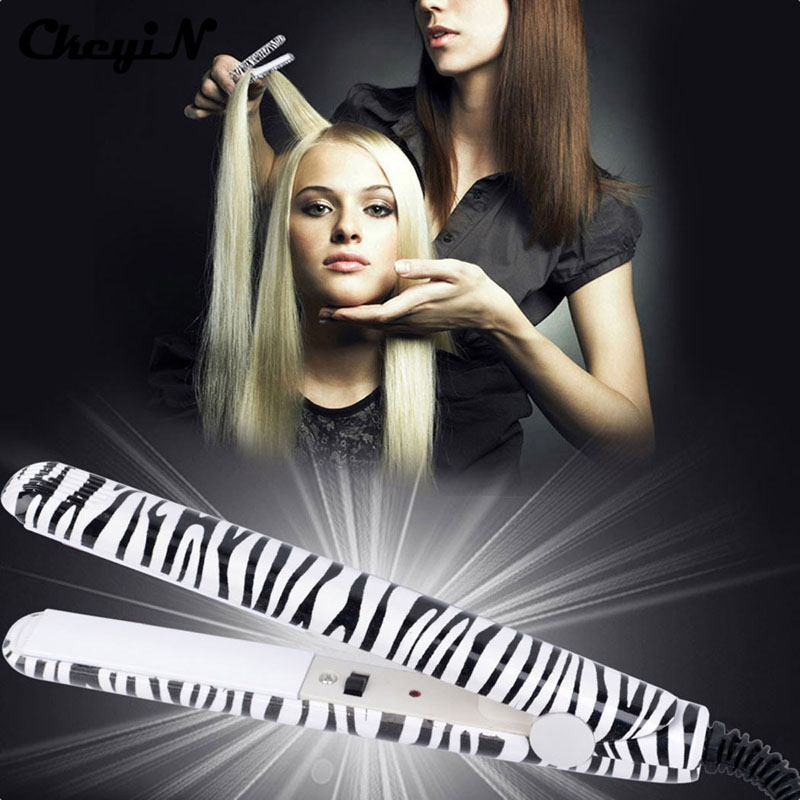 Professional Hair Styling Tools Ceramic Flat Zebra Leopard Electric Hair Straightener Mini Travel Straightening Irons 220-240V professional vibrating titanium hair straightener digital display ceramic straightening irons flat iron hair styling tools eu