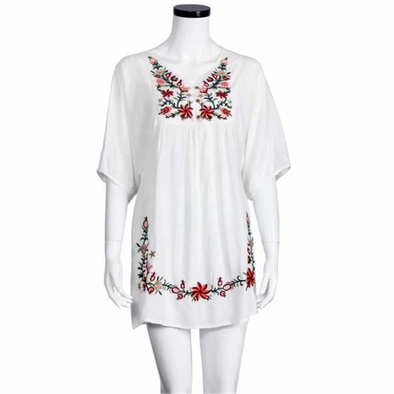 Vestidos femininos 女性メキシコエスニック刺繍 Pessant ヒッピーブラウスジプシー自由奔放に生きるミニ花印刷ドレスローブフェムセクシー