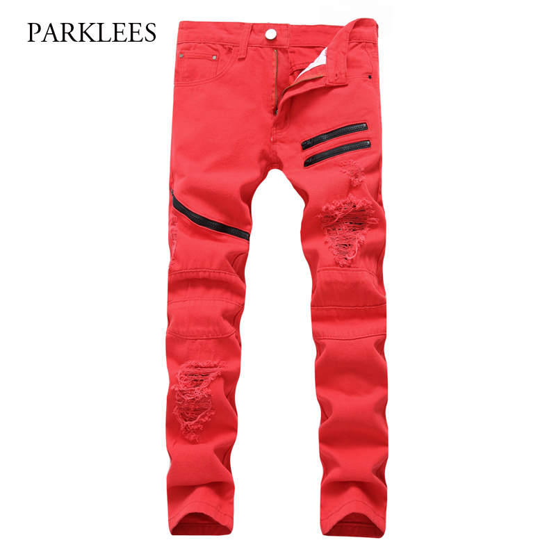 New Red Ripped Jeans Men 2017 Brand Hi Street Multi-Zipper Biker Jeans Hommes Casual Hip Hop Elastic Washed Denim Jeans Pants skinny jeans men 2017 brand washed ripped jeans men casual slim fit mens biker jeans hip hop hipster zipper jeans pants homme