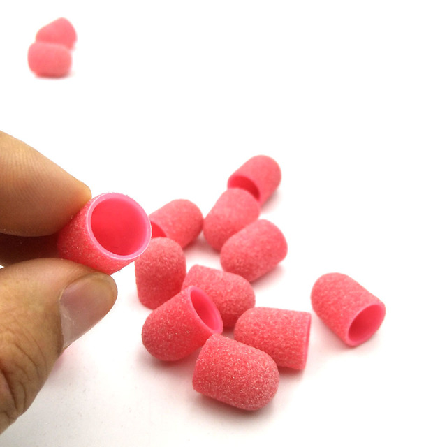 20Pcs 10*15mm Plastic Base Pink Sanding Caps With Rubber Grip Pedicure Polishing Sand Block Drill Accessories Foot Cuticle Tool 2