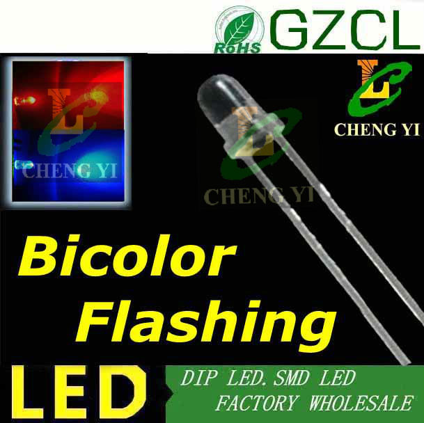 RED Blue 3mm Bicolor blinking led 1 5Hz auto flashing dip led3 0 3 5V Factory