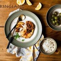 1pc KINGLANG Ceramic Straw Hat Shape Rice Bowl Steak Plate Salad Plate Dinner Set Tableware
