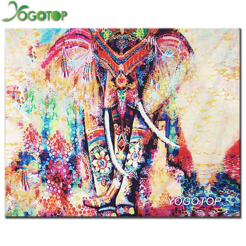 YOGOTOP Diy Diamond Painting Colorful elephant Full Rhinestones Cross Stitch 5D Mosaic Diamond Embroidery Home Decoration ZB816