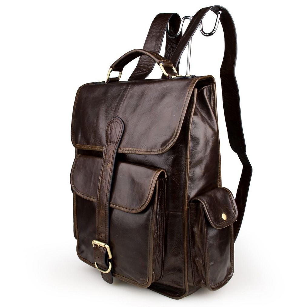 Guaranteed 100% Cowhide leather men Backpack  Vintage genuine Leather  Travel Backpack  laptop bag Schoolbag  7283