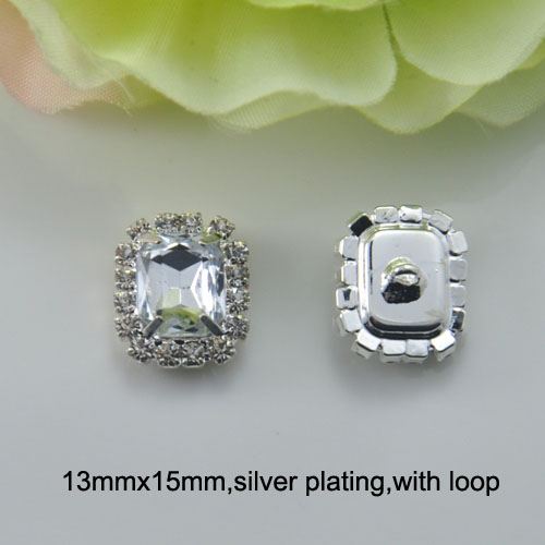with Loop j0145 Diligent 13mmx15mm Crystal Button silver Or Light Rose Gold Plating Or Gold Plating Delicacies Loved By All