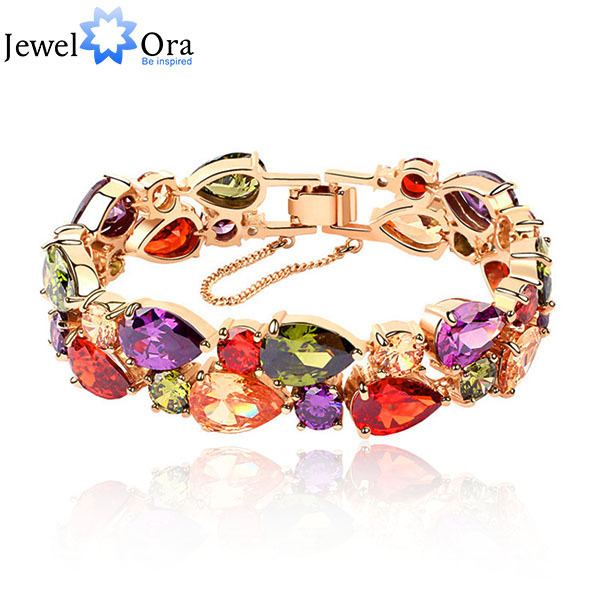 New Style Tear Drop  Lady Bracelets & Bangles  Elaborate Gold Color AAA CZ  Bracelet For Lady Hand Chain (Jewelry BA101079)