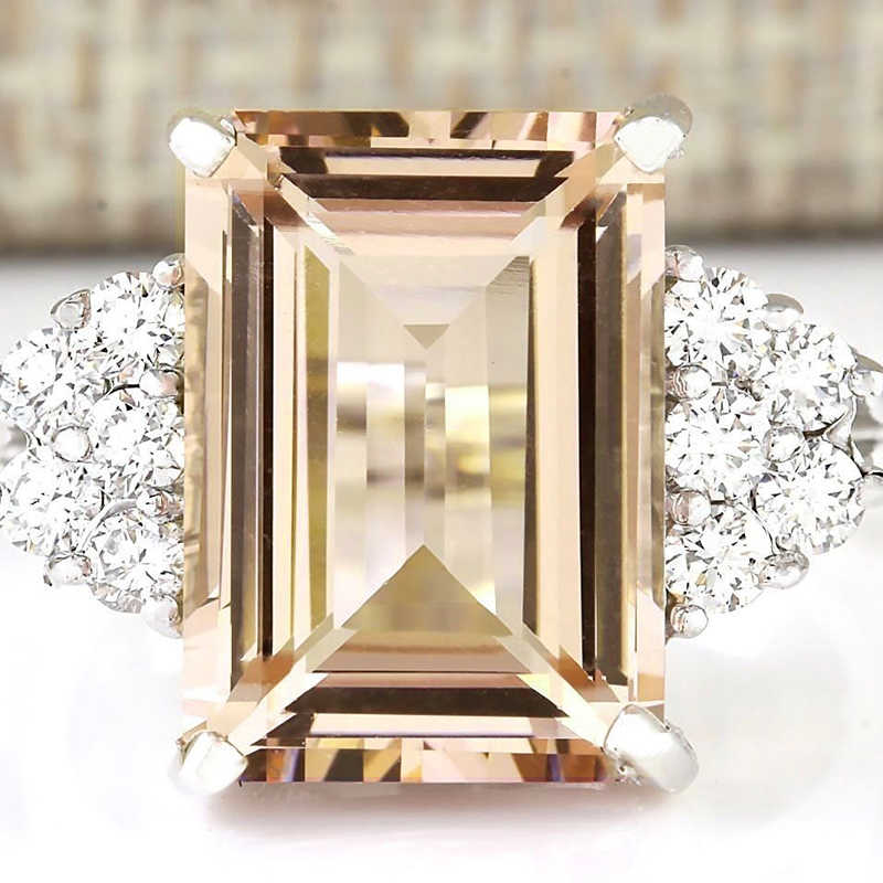 Princess Cut Orange Stone White Crystal Silver Color Ring Ladies Accessories Rings for Women Luxury Jewelry Anillos Mujer O5K214