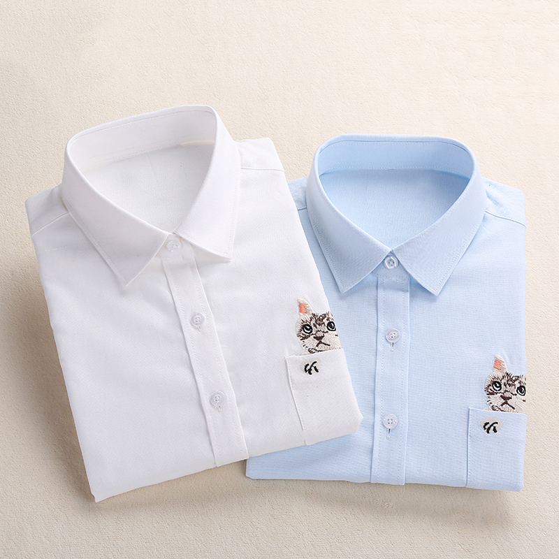Dioufond Print Cat Embroidery on Pocket Shirts Lady 2019 Spring New Fashion White Navy Casual Blouse Shirts Long Sleeve Blouse shirt stays shirt hood shirt cat - title=