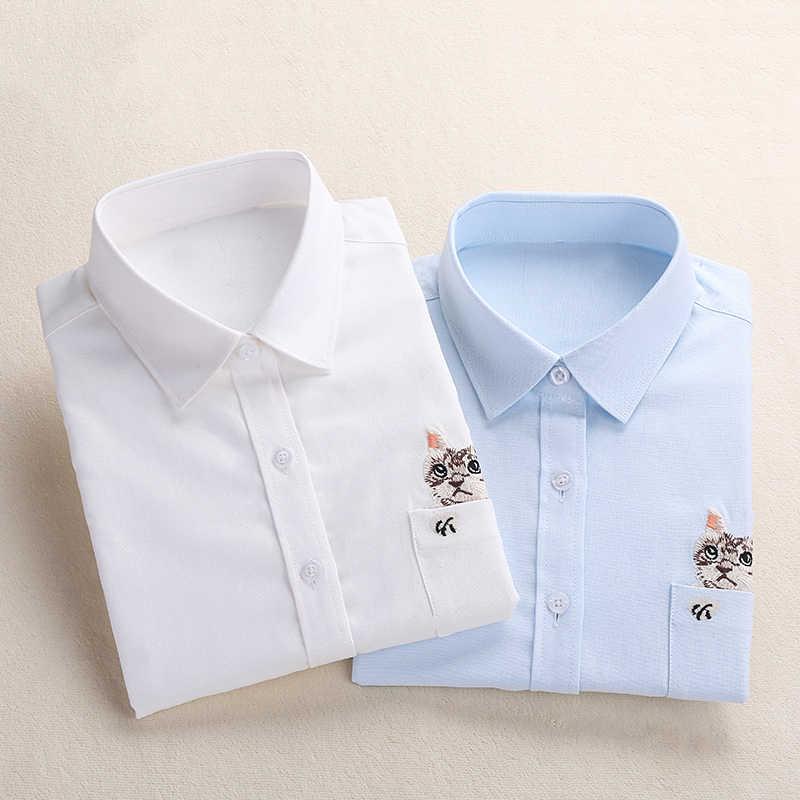 Dioufond/женские рубашки с вышивкой в виде кота на карманах; Новинка весны 2019 года; Модная Повседневная блуза белого и темно-синего цвета; рубашки; блузка с длинными рукавами