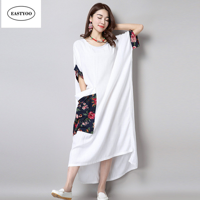 Vestido de lino blanco largo