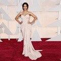 Zoe Saldana Oscar Red Carpet Vestido de Espagueti Corsé Deshuesado Blusa Reunieron con Volantes Sirena vestidos de Baile Celebrity Vestidos de Noche