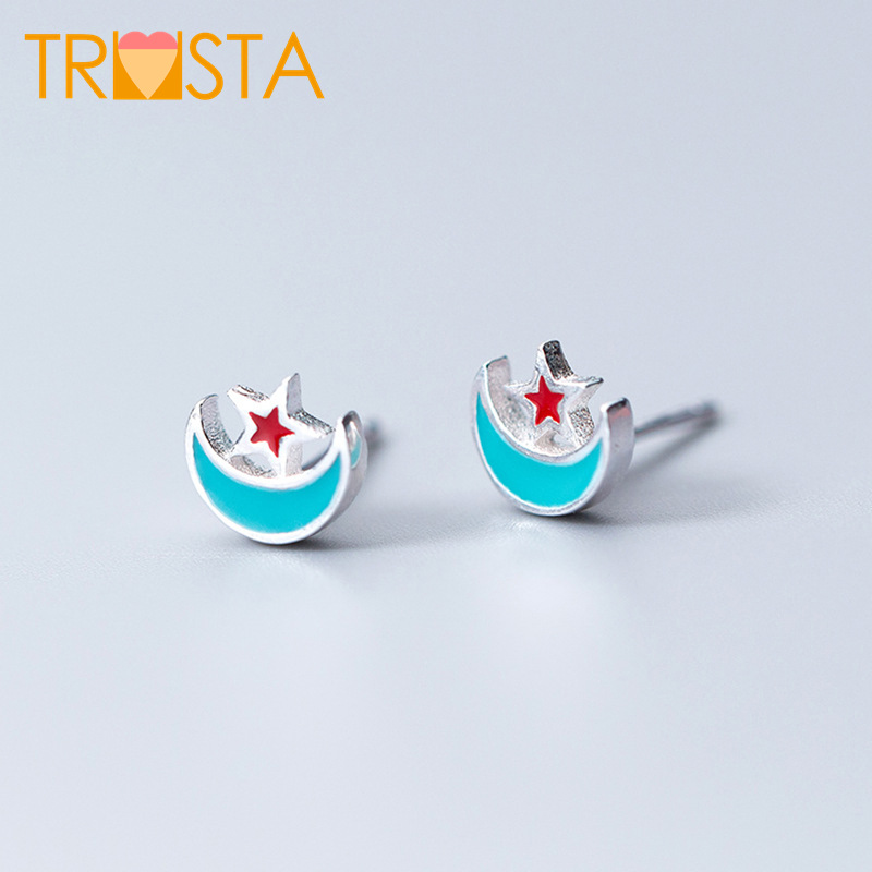 Competent Trusta 100% 925 Sterling Silver Jewelry Women Fashion Moon Star Owl Bat Stud Earring Gift For Girl Kid Lady Xy849 Jewelry & Accessories Earrings
