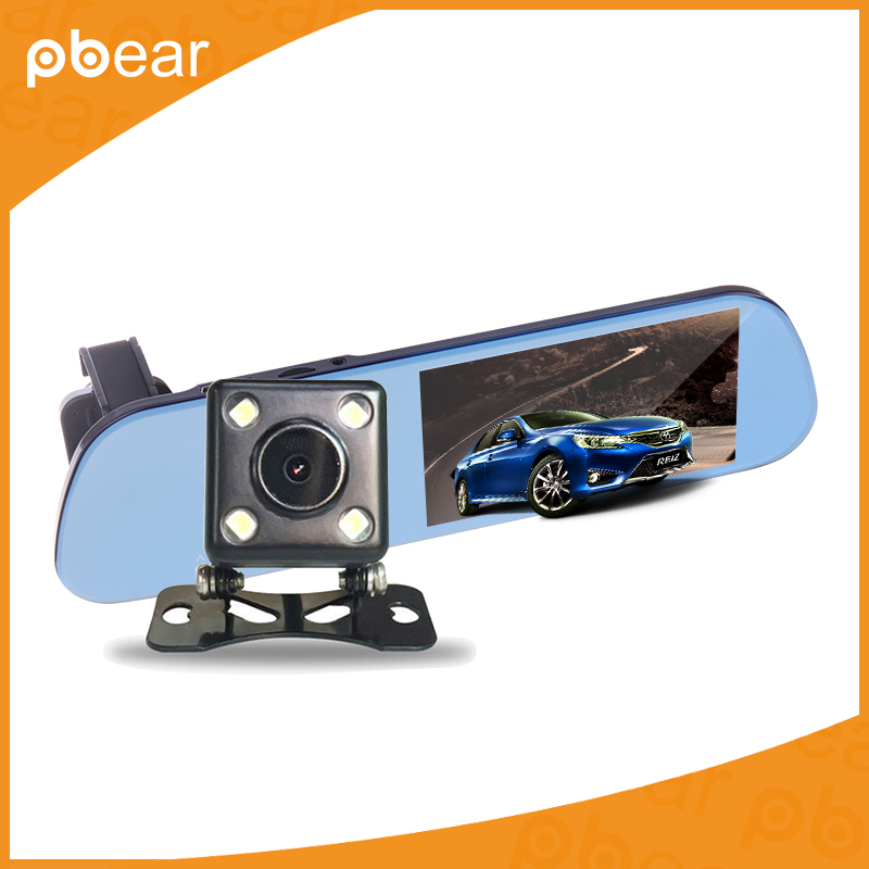 Pbear Car DVR Dual Lens LCD Parking Car 5.0 inch Rear View Mirror Monitor Rearview Monitor for Backup Reverse Camera
