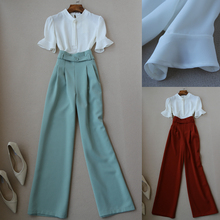 Two piece set top and pants summer new fashion casual suit half sleeve chiffon shirt top high waist wide leg pants trousers suit цена и фото