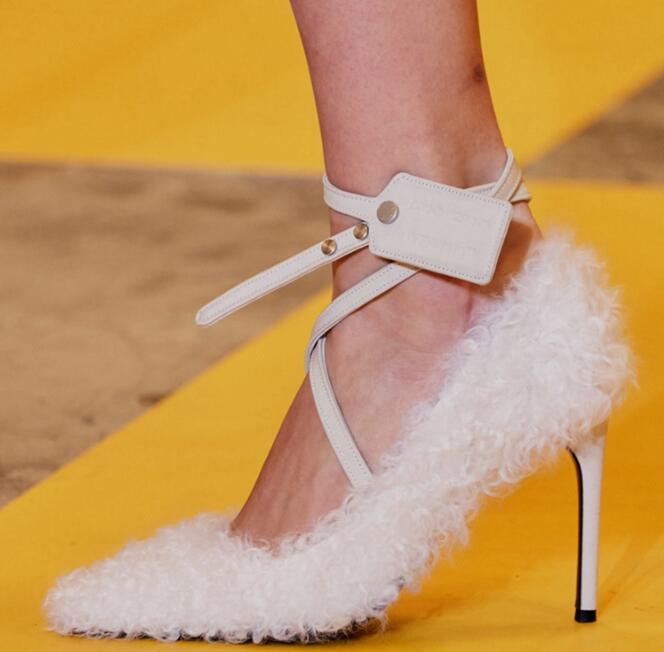 Carpaton Newest Runway Fur Decorations High Heel Shoes Pointed Toe Ankle Strap Thin Heels Pumps for Woman Shallow Stiletto HeelsCarpaton Newest Runway Fur Decorations High Heel Shoes Pointed Toe Ankle Strap Thin Heels Pumps for Woman Shallow Stiletto Heels