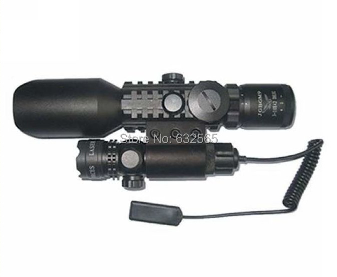 Free Shipping  Tactical 3-10X42 M9A Rifle Scope Red Green Mil-Dot Reticle With Side Mounted Green Laser