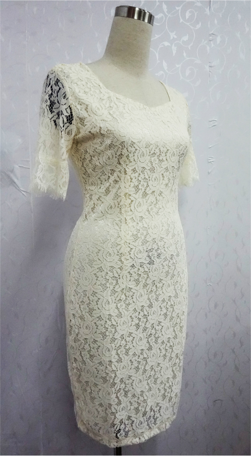 77e0eeb69 Adogirl Kate Middleton más tamaño Encaje vestido elegante cuello ...