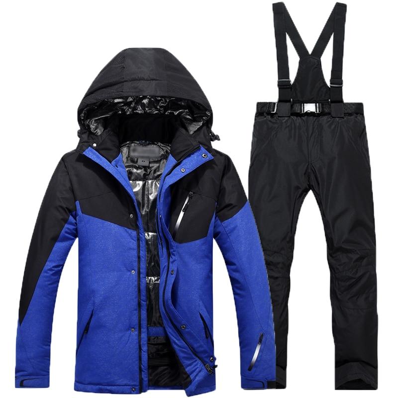 Livraison Gratuite Double Conseil Vêtements De Ski Coupe-Vent Costume de Ski 2018 Ski Chaud Veste + Pantalon Hommes D'hiver En Plein Air Respirant