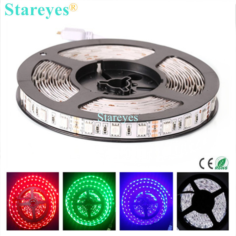 1 Piece SMD 5050 60 LED / M RGB LED Strip 5M 300 LED DC12V Non Waterproof flashlight Strip tape string Ribbon LED Light lighting