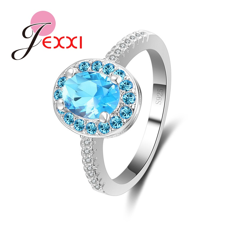 JEXXI Classical Blue Stone Fine Jewelry Rings Oval Cubic Zircon Tiny Pave Stone Crystal Wedding Engagement Rings Mujer