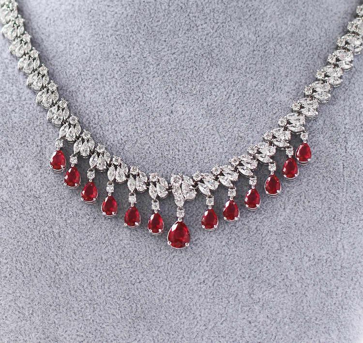Freies Verschiffen Braut Teardrop Zirkon Edelstein Kristall diamant-halskette Ohrringe Weibliche Hochzeit Braut rotwein Schmuck Sets