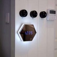 Vioslite Mirror Alarm Clock USB Charging LED Table Lamp Brightness Thermometer Function Digital Clocks with LED Night Light