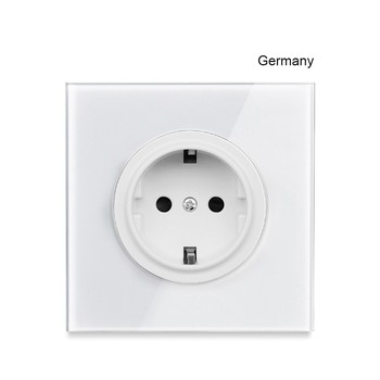 1 2 3 4 gang 2 way White Tempered glass switch Light pressure Wall Switch With LED lights France Germany socket household USB 12