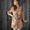 Новое лето женщины dress стиль платья с V-образным Вырезом с коротким рукавом Национальный печати женщины хлопок dress Casual Vestidos женская одежда повседневная