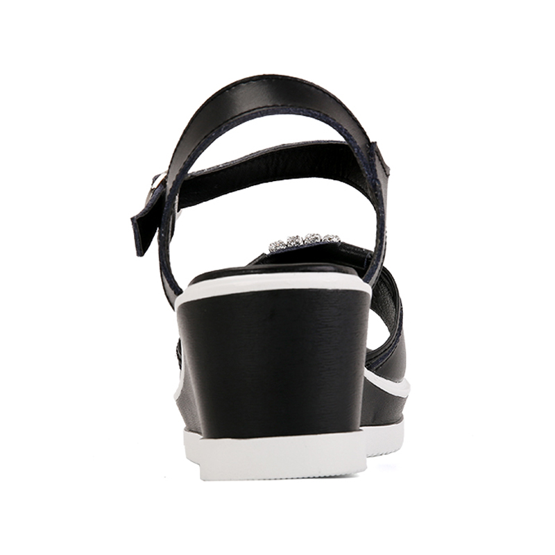 DQG 2018 Summer High Heel Women Sandals Solid Wedges Buckle PU Sandalias Casual Ankle Strap ladies Shoes