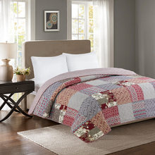 Full/Queen Size 1 Piece Lightweight 100%Cotton Patchwork Bedspread Quilted Coverlet Quilt Modern Style Stitched Bed cover set(China)