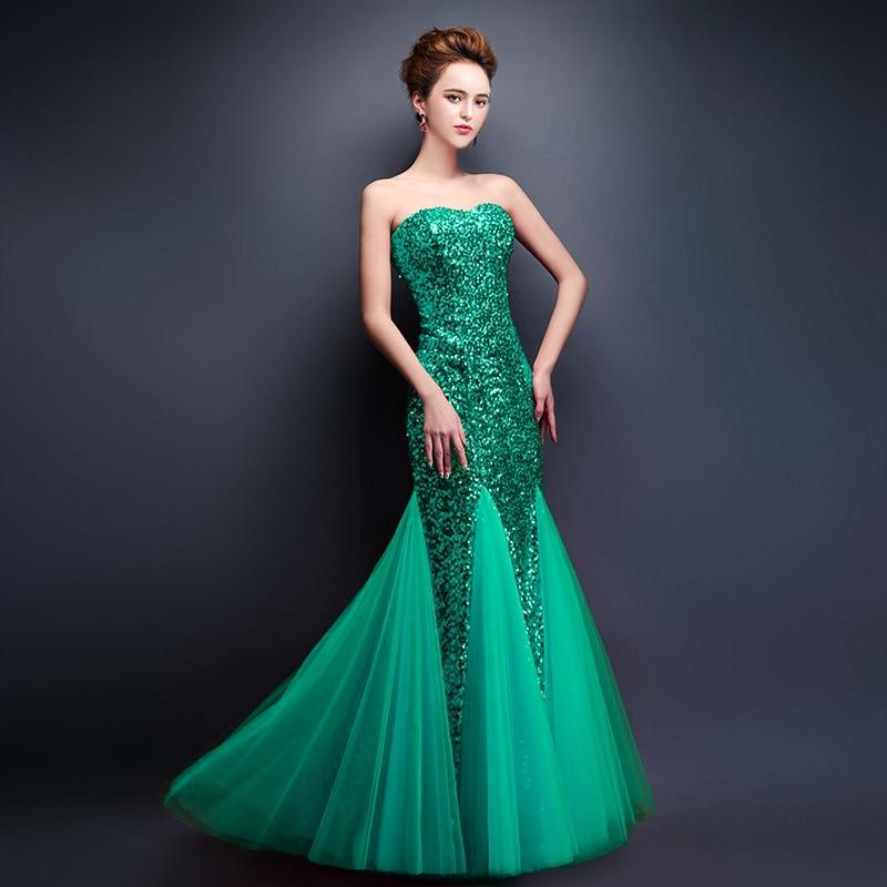 CEEWHY платья с открытыми плечами Пол Длина Длинные вечерние платья sequinated Выпускные платья платье с русалочкой элегантные вечерние платья Robe de Soiree - Цвет: green