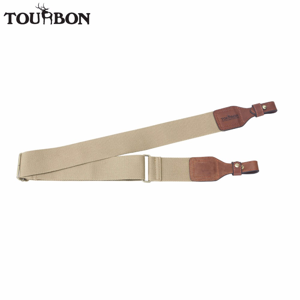 Tourbon Hunting Tactical Gun Sling Durable Webbing Leather Shooting Rifle Shoulder Strap Brown Belt with Brass Buckle 82-124CM
