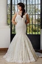 Mermaid Wedding Dress Sweetheart Cap Sleeves Keyhole Back Applique Brush Train Vintage Bridal Gown NM 548