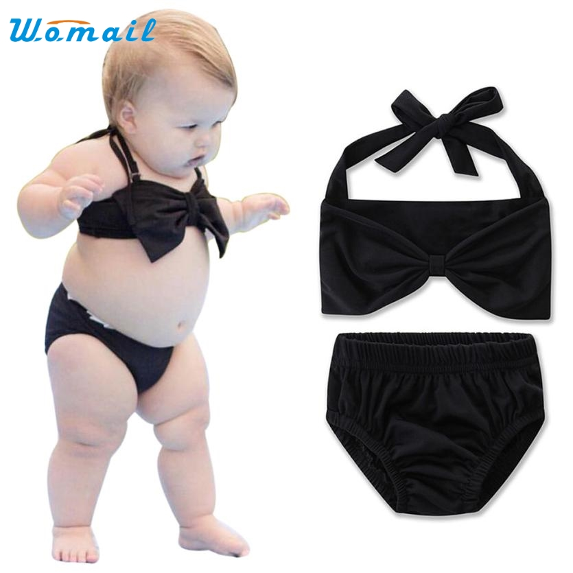 2017 Toddler Baby Kids Girls Solid Swimsuit Swimwear Bathing Suit New Arrival Bikini Set Clothing M21X15