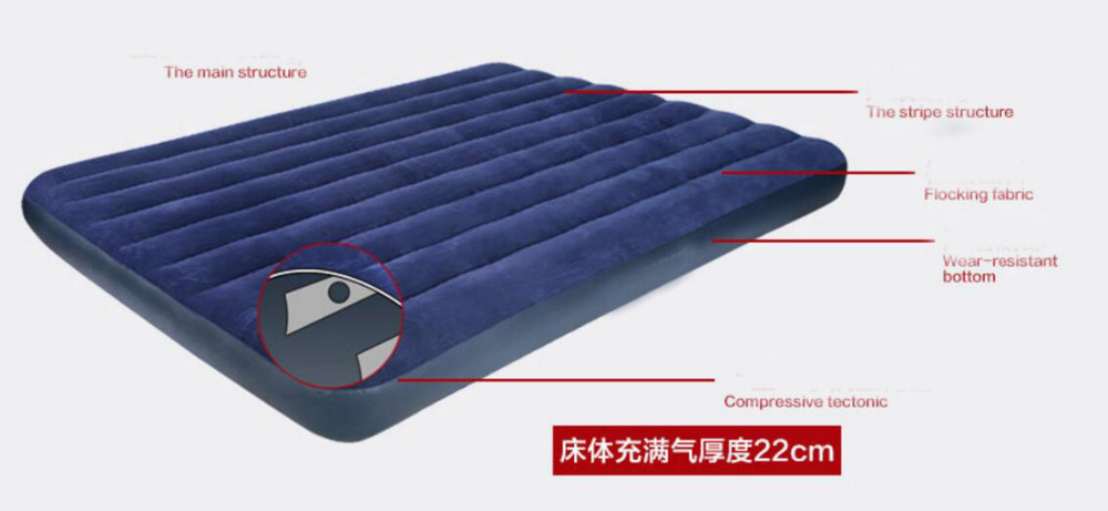 191*76*22cm Top Quality Single Air Cushion Outdoor Hiking Air Mattress Inflatable Camping Bed Blue Dampproof Camping Mat creeper bl q001 convenient outdoor self inflation dampproof dacron air cushion mat camouflage