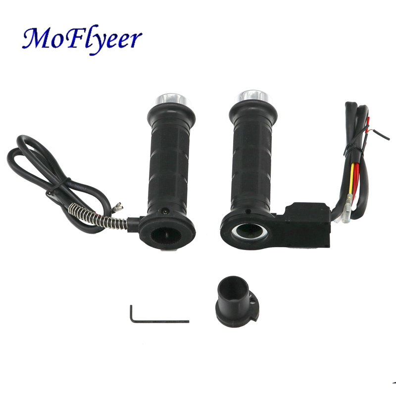 MoFlyeer Motorcycle 12V Heating Grips 7 8 quot 22mm Hot Heated Molded Grips Handlebar Warmers spring Electric Heating Motor Grips in Grips from Automobiles amp Motorcycles
