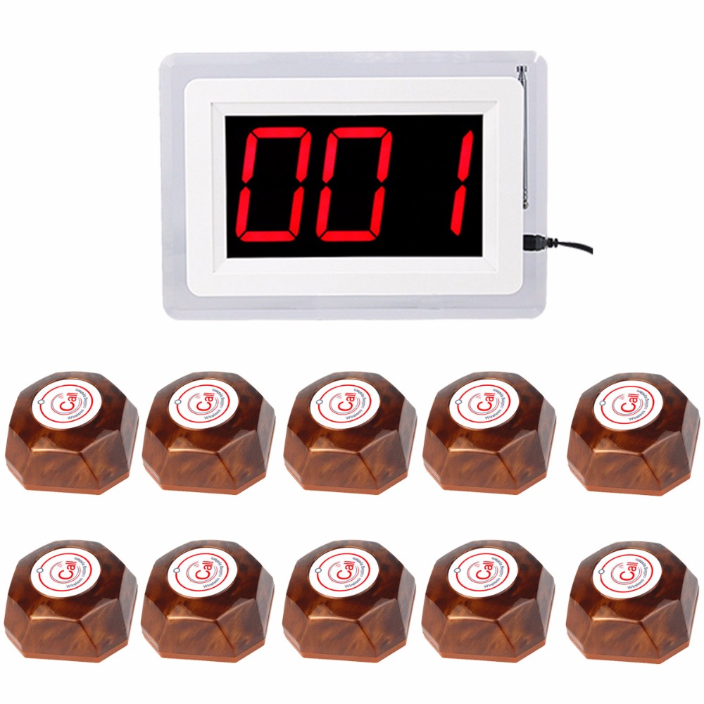 Hotel Calling System Wireless Pagers Waiter Call Bell Service 433 MHz Receiver Host One Key Wooden Button Transmitter F4409Y wireless bell button for table service and pager display receiver showing call number for simple queue wireless call system