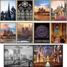Church DIY 5D Full Drill Diamond Painting Embroidery Cross Stitch Kits Rhinestone  Home Decor Crafts