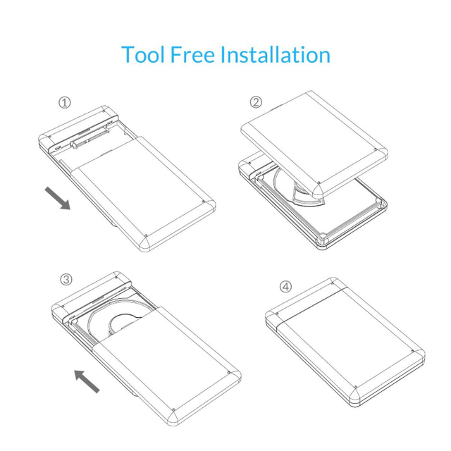 HDD Enclosure, ORICO 2599US3 Sata to USB 3.0 HDD Case Tool Free for for 7mm/9.5mm 2.5 inch HDD and SSD Up to 2TB Supported