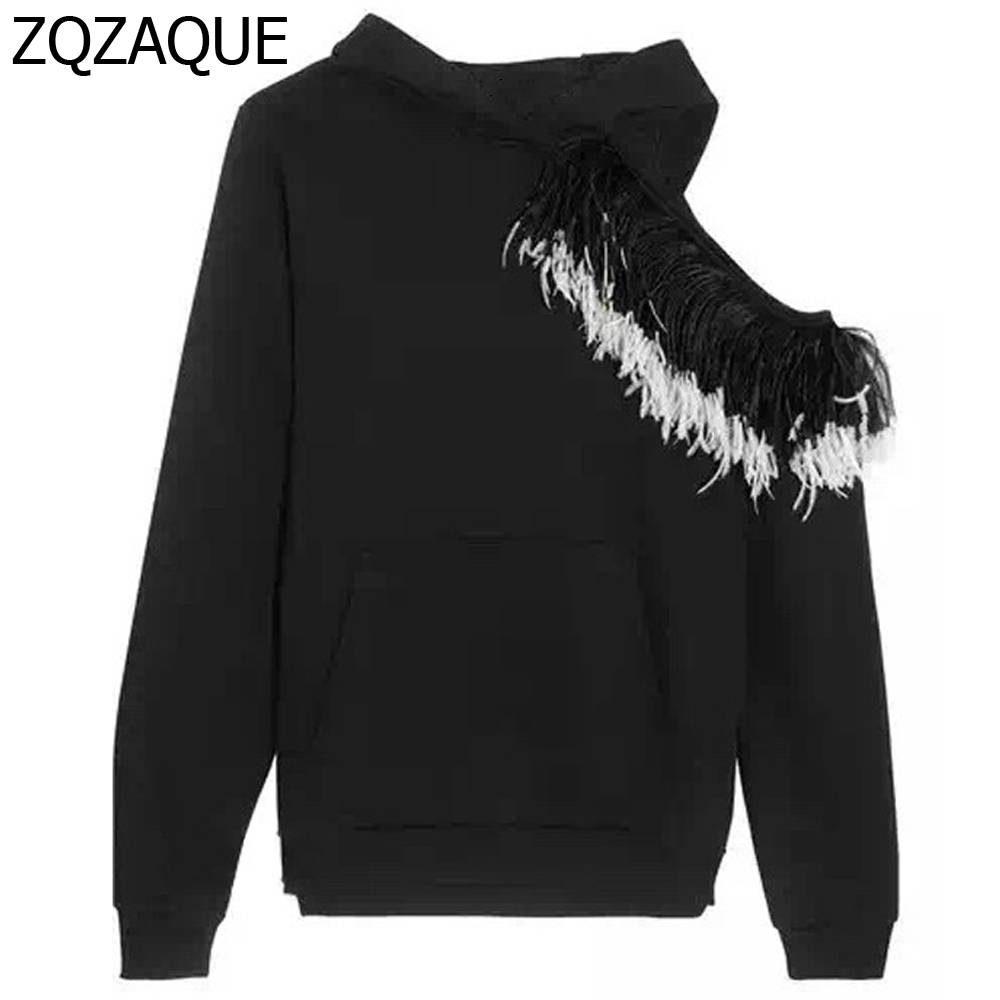 Sweatshirts Patchwork Feather Shoulder Black Sy1007 Girls Quality Tops Runway Hooded Out Sexy Style Hollow High Real CwXvqZ7Z