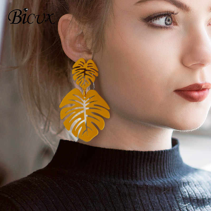 BICUX Statement Big Leaf Drop Earrings 2019 for Women Fashion Vintage Geometric Yellow Green Long Hollow Metal Earring Jewelry