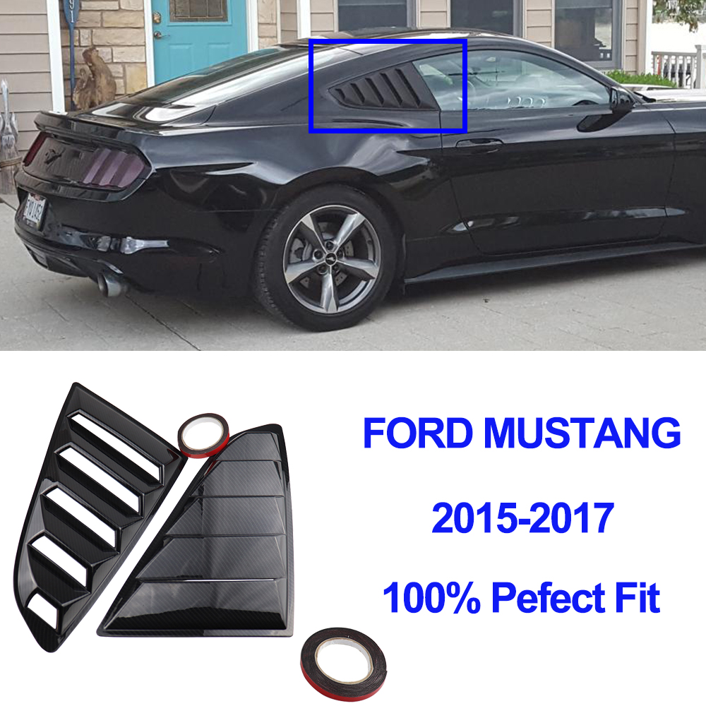 For <font><b>Ford</b></font> <font><b>Mustang</b></font> Rear Quarter Window Louvers Spoiler Scoops Car Styling Tunning Panel Side Air Vent Cover Sticke <font><b>2015</b></font> 2016 2017 image