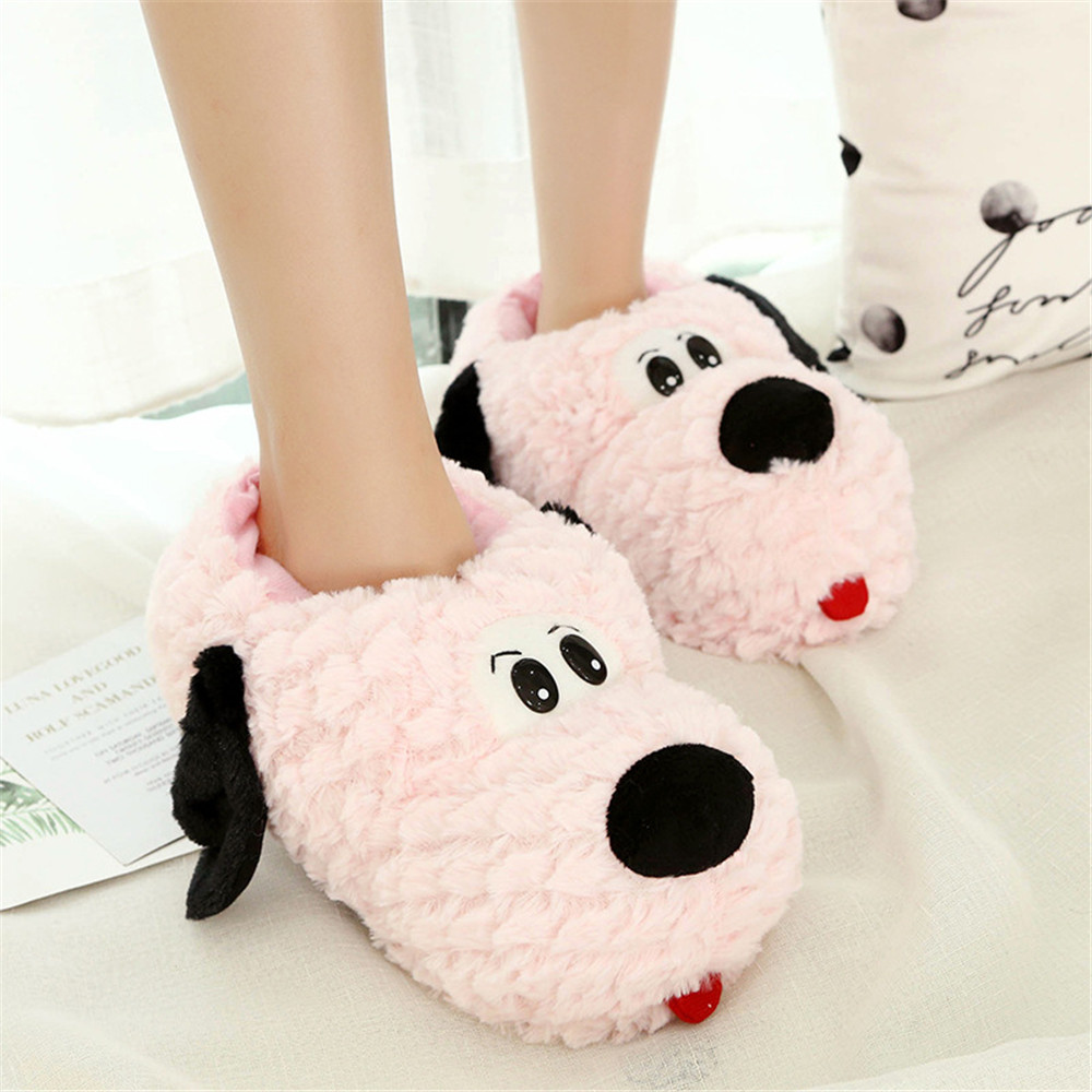 Cosplay Women Slippers Lovely dog Animal Prints Solid Flat Indoor Shoes Winter Plush Warm Home Slippers Christmas present