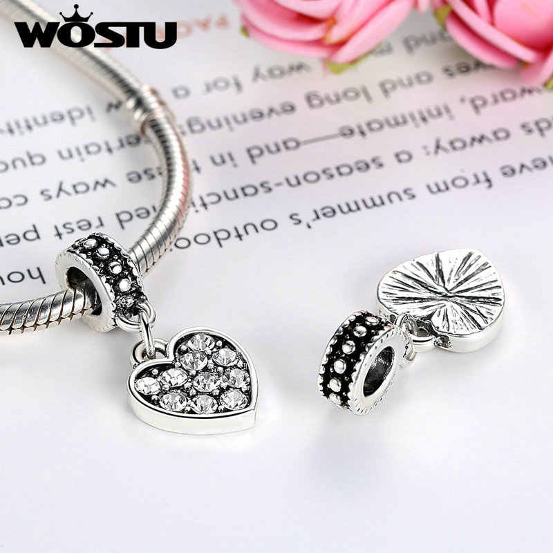 Pendentif en forme de coeur scintillant de haute qualité pour Bracelet Original wst, fabrication de bijoux à bricoler soi-même plaqués argent SDP5330