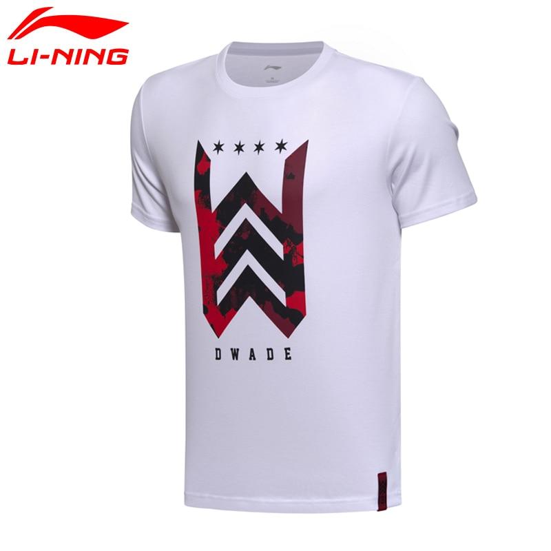 Prix pour Li-Ning Hommes de Wade Basket-Ball T-shirts À Manches Courtes 100% Coton Jersey Doublure T-shirt Sport T-shirts Tops AHSM307 MTS2626