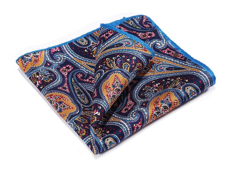 HN33N Orange Navy Blue HISDERN Handkerchief 100% Natural Silk Satin Mens Hanky Fashion Classic Wedding Party Pocket Square