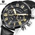 Benyar Мужские кварцевые часы из нержавеющей стали и кожи с хронографом римские цифры наручные часы