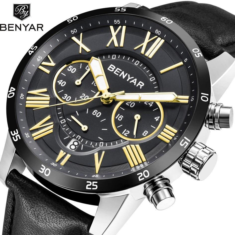 Benyar Men's Quartz Stainless Steel and Leather Chronograph Watch Roman numerals Wrist Watches все цены
