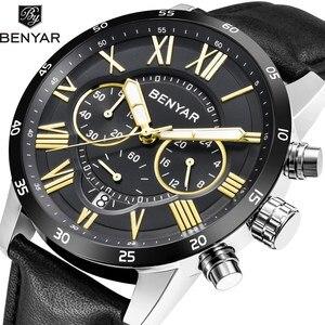 Benyar Men's Quartz Stainless Steel and Leather Chronograph Watch Roman numerals Wrist Watches