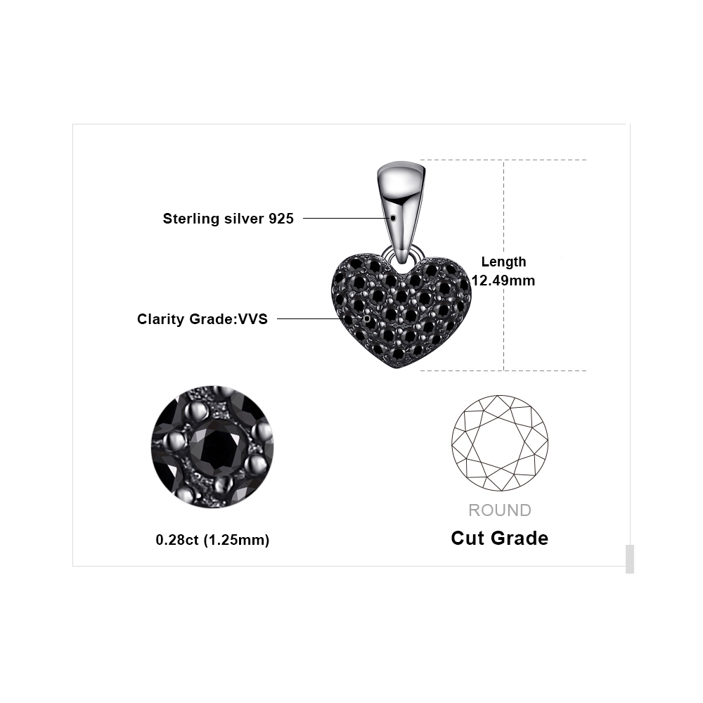 Jewelrypalace mode 0.28ct natural hitam spinel cinta hati liontin - Perhiasan bagus - Foto 5